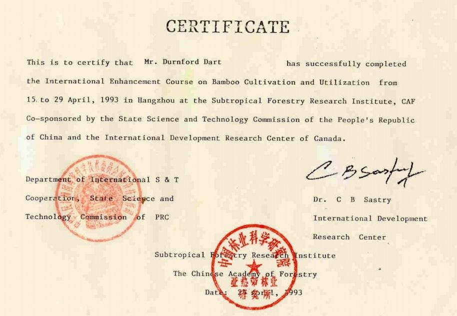 Durnford Dart Certificate